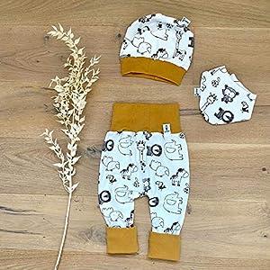 ANGEBOT Set – Hose, Mütze, Halstuch – Zootiere (Senf) Baby Junge