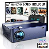 WiFi Bluetooth Native 1080P Projector Includes 120' Projector Screen & Box,9000Lux HD Projector 4K with 450' Display,Outdoor Projector for Support 4K Dolby & Zoom,Compatible with Phone,PC,TV Box,PS4