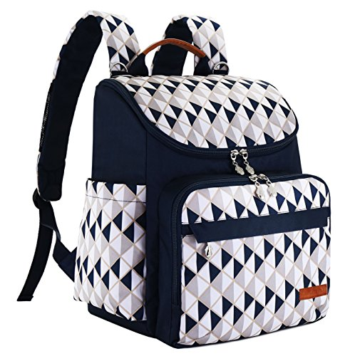 Diaper Bag Backpack With Baby Stroller Straps By HYBLOM, Stylish Travel Designer And Organizer For Women, 12 Pockets, Blue Triangle