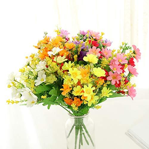 6 piezas de flores artificiales, margaritas de seda sintética, flores silvestres, arbustos verdes, plantas, arbustos de plástico, interior, granja, exterior, jardín, maceta, regalo del día de