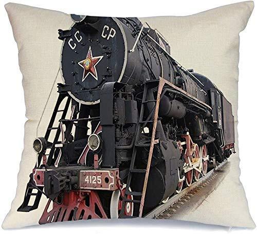 Zierkissenhülle Erfindung Sowjetischer Dampflokomotivenzug Sozialismus UdSSR Advance Bolt Railway Tube Rail Steel Kissenbezug 45 X 45CM