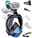 Electric Air Circulation Full Face Snorkeling Masks 2021 Upgrade Smart Snorkel Mask No Fog No Leaking No Choking Water Easybreath 180°View Foldable Diving Package Set for Snorkeling Swimming Beginner