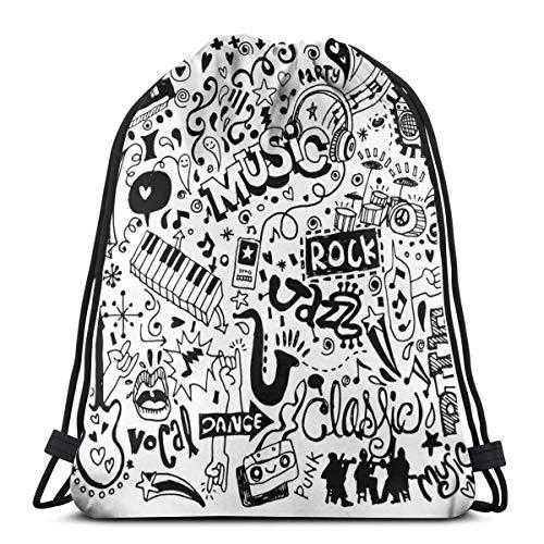 WTZYXS Trekkoord Sack Rugzakken Tassen, Schets Van Een Skateboard Met Sixties En Seventies Stijl Pop Art Geïnspireerd Achtergrond, Verstelbare,5 Liter Capaciteit, Verstelbaar.