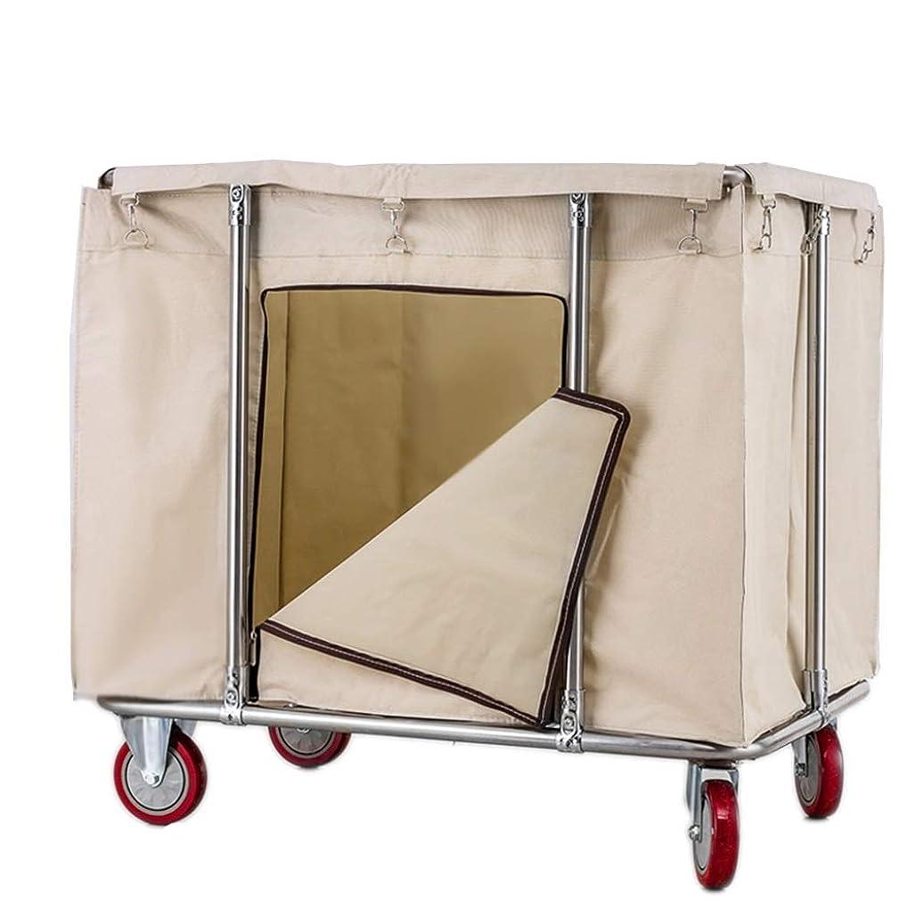 リファイン反対するカジュアル洗濯カートの収納トロリー、車輪が付いている特大の商業転がり洗濯カート、頑丈なキャンバスの妨害物、90×60×85cm (Color : Beige)