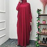fancy Vestido de oración para mujer, de una pieza, Abaya musulmán, vestido islámico, maxi Abaya kaftan con vestido hijab de longitud completa, rojo vino