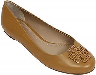 Melinda Ballet Classic Flat Leather TB Logo Shoes (8, Blond)