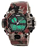 Men's Watches Multi Function Military S-Shock Sports Watch LED Digital Waterproof Alarm Watches (Camouflage Red)
