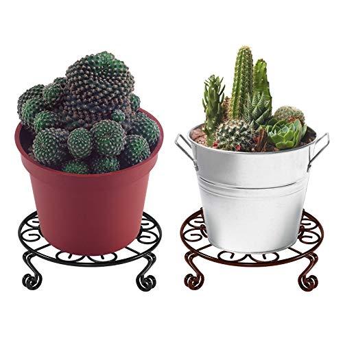 Soporte De Metal para macetas de Flores,2 piezas Soporte de Maceta Creativo soporte para macetas negro y cobre 9 pulgadas para macetas de Interior exteriores soporte para macetas para decoración