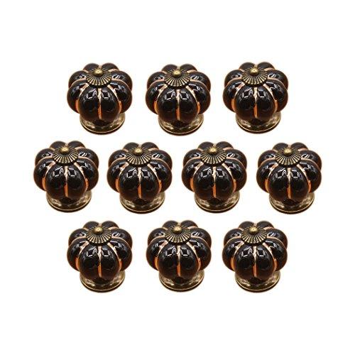 Calabaza en forma de puerta de cerámica perilla armario cocina armario cajón tiradores asas 10 paquete, Negro