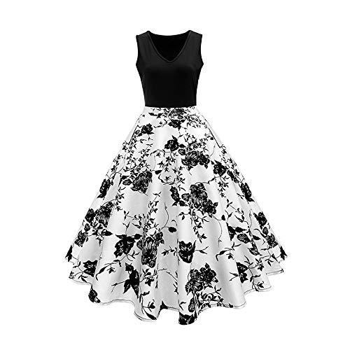 Women's Summer V-Neck Classic Retro Print Stitching Plus Size One-Piece Dress A-Line Skirt