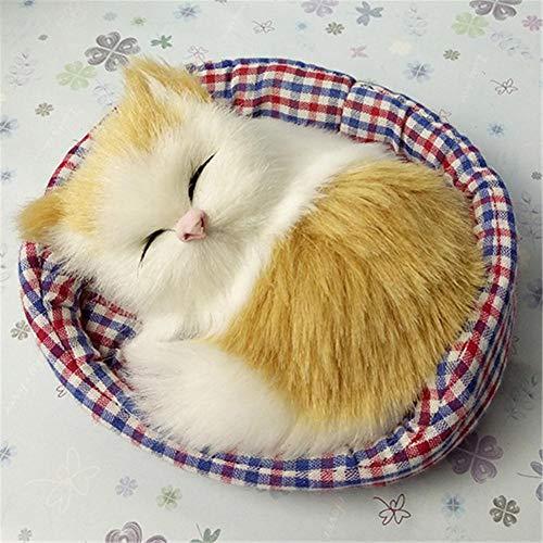 wonderday Juguete de Gato de simulación para Dormir con Estera Suave Cama para Dormir Gatos Juguetes de Peluche con Sonido Gatito Peluches de Peluche Muñeca Decoración del hogar