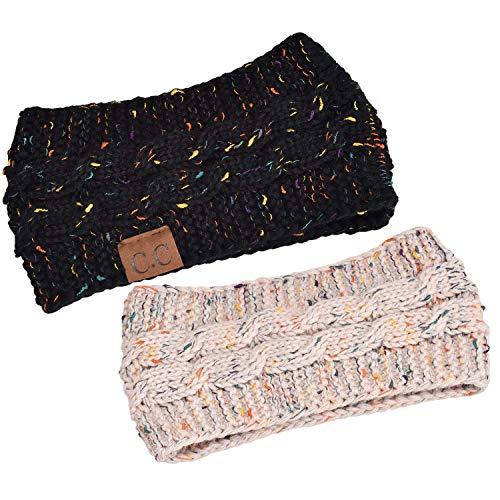 DealKits 2 Stück Damen Gestrickt Stirnband, Frauen Mädchen Häkelarbeit Winter Kopfband Haarband (Schwarz & Beige)