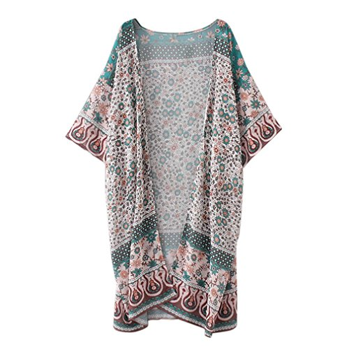Homebaby Vrouwen Boheemse Strand Chiffon Lange Kimono Vest - Dames Vintage Bloemen Jas Losse Sjaal Boho Top Blouse Strandkleding Zomer Vakantie Kleding Oversized