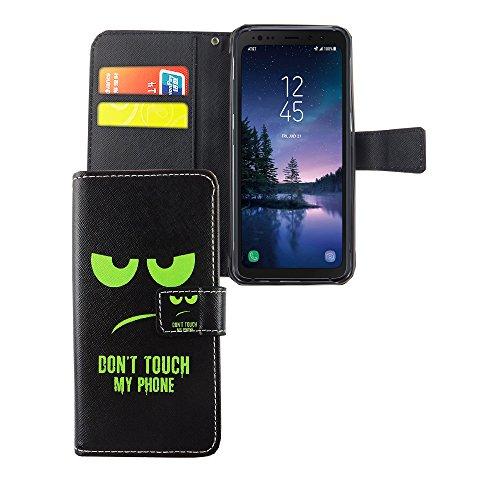 König Design Handyhülle Kompatibel mit Samsung Galaxy S8 Active Handytasche Schutzhülle Tasche Flip Hülle mit Kreditkartenfächern - Don't Touch My Phone Grün Schwarz