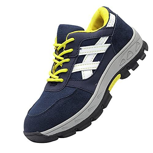Zapatos de Seguridad Hombre,Ligeras con Puntera de Acero Zapatos de Trabajo Zapatillas de Seguridad Antideslizante Unisex,Blue and White▁39