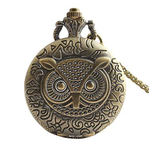 SMEJS Reloj de bolsillo de aleación de bronce con diseño de búho, decoración de números árabes, grabado fino, collar, regalo vintage para hombres y mujeres