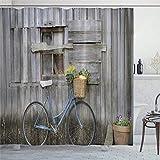 EricauBird Duschvorhang, rustikal, antike Fahrrad-Optik, Landhausstil, Duschvorhang mit Ringen, Polyestergewebe, Duschvorhänge mit Haken, Bad-Dekoration, 183 x 183 cm