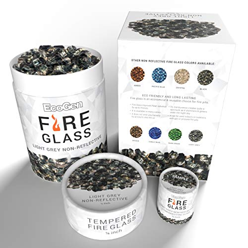 EcoGen Fire Glass for Outdoor Fire Pits and Indoor Fireplace, Color, Optimal Heat for Propane or Gas, Tempered and Reflective, Eco-Friendly Packaging, Light Grey 1/4 inch Non-Reflective 12 lbs.