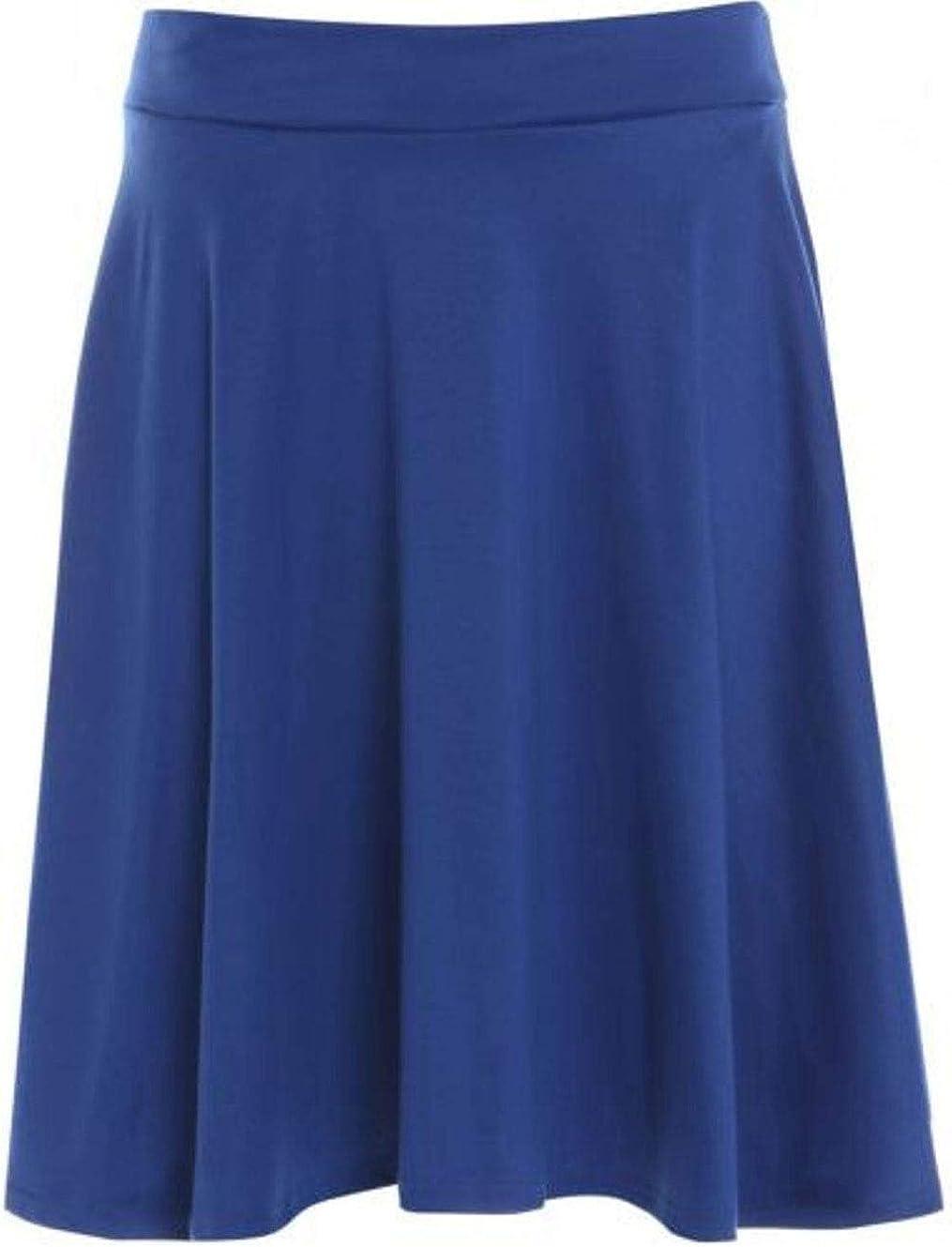 Rimi Hanger Ladies Flared Skater Plain Printed Skirts Womens Knee Length Stretchy Midi Skirt US 10-24