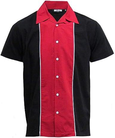 Relco Hombre Manga Corta Bolos Camisa en Negro/Rojo Nuevo Talla M -XXL