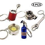 Ispeedytech 5 Auto Part Model Metal Keychain/Key Ring/Holder Set- Wheel Rim Tyre,Spinning Turbo, Six Speed Manual Transmission Shift, NOS Mini Nitrous Oxide Bottle, Wrench Keychain
