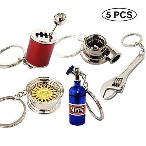 Ispeedytech 5 Auto Part Model Metal Keychain/Key Ring/Holder Set- Wheel Rim Tyre,Spinning Turbo, Six Speed Manual Transmission Shift, NOS Mini Nitrous Oxide Bottle, Wrench Keychain