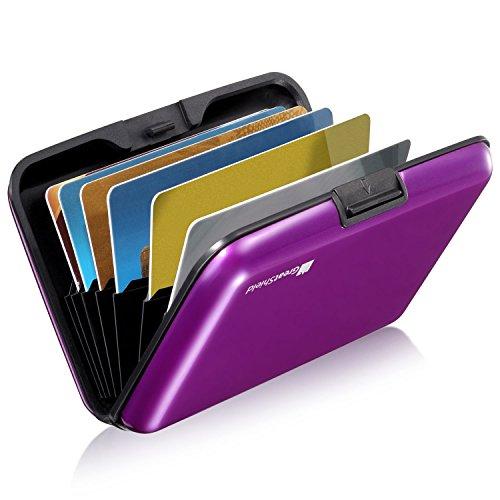 GreatShield RFID Blocking Karten Halter (Aluminium/Identität Protection) Visitenkarten Tasche/Karten Mappe/Börse/Card Holder/Beutel (8 Karten/Slots) für Frau/Mann - Lila