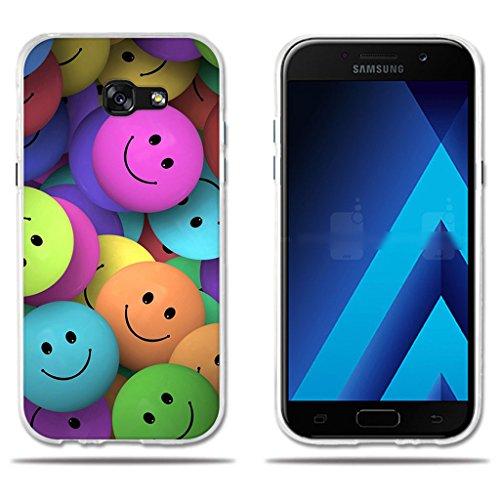 Funda Samsung Galaxy A5 2017-FUBAODA-(Interesante) Diveretido Dibujo de Cara Sonriente,Amortigua los Golpes, Funda Protectora Anti-Golpes para Samsung Galaxy A5 2017