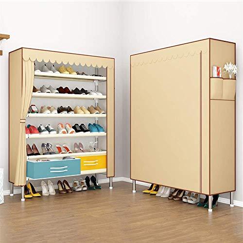 Decoración de muebles Caja de zapata plegable Caja de zapatos Caja de zapatos Con cajones Oxford Paño Zapato de zapatos Multi-capa Zapatos de gran capacidad Estante Bold Acero Gabinete de zapatos para