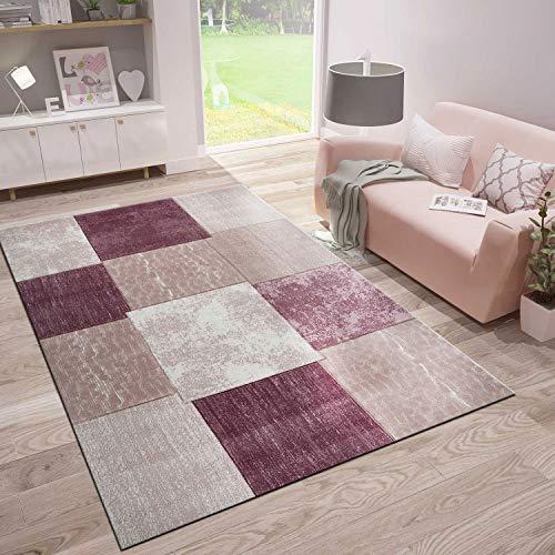 VIMODA Tapis moderne de style patchwork chiné dans les couleurs rose fuchsia et crème, taille : 120 x 170 cm