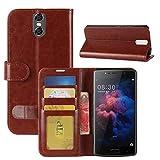 HualuBro DOOGEE BL7000 Hülle, Premium PU Leder Leather Wallet HandyHülle Tasche Schutzhülle Hülle Flip Cover mit Karten Slot für Doogee BL7000 5.5 Inch Smartphone (Braun)