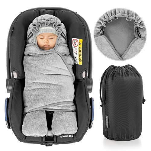 Zamboo Baby Wikkeldeken Winter met Voeten voor Autostoel, Kinderwagen, Ledikant, Box - Babydeken met Capuchon, Klittenband en Opbergzak - Zacht Inbakerdoek voor Baby's - Grijs