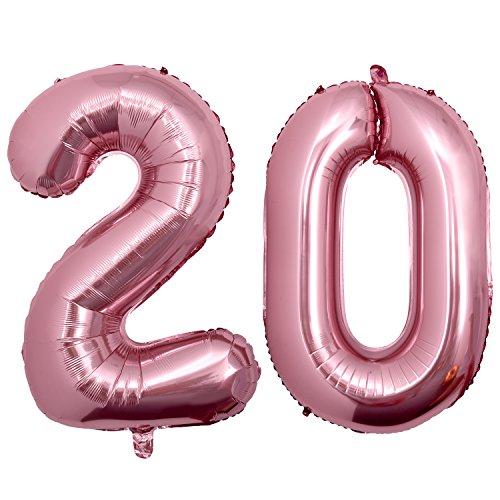 Meersee Palloncino 20 Anni Oro Rosa, Palloncino Numero Pallone ad Elio Palloncino Decorazione di Compleanno 40 pollici Numero 20