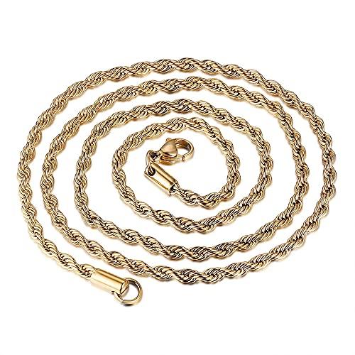 MIKUAJ collarCuatro Colores Cadena de Cuerda Trenzada Collares Hip Hop Rapero de Acero Inoxidable Minimalista Gargantilla Collar de Cadena joyería para Hombre