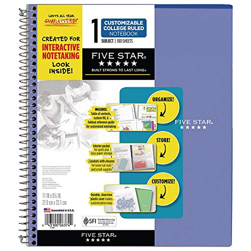 """Five Star Interactive Notetaking, 1 Subject, College Ruled Spiral Notebooks, 100 Sheets, 11"""" x 8-1/2"""", Customizable, 3 Pack (38589) Photo #6"""