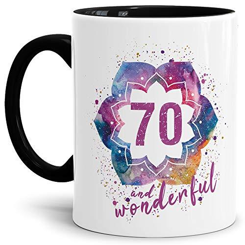 Tassendruck Geburtstags-Tasse 70 and Wonderful Geburtstags-Geschenk zum 70. Geburtstag als Geschenkidee für die Frau/Abstrakt/Bunt/Kaffeetasse/Innen & Henkel Schwarz