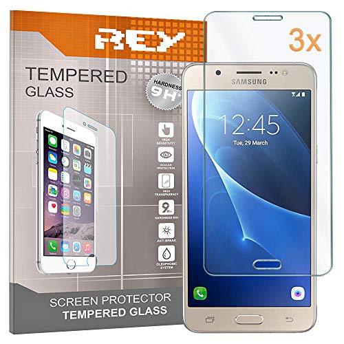 REY 3X Protector de Pantalla para Samsung Galaxy J5 (2015), Cristal Vidrio Templado Premium
