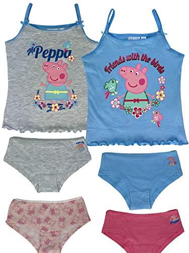 Peppa Pig Peppa Wutz - Mädchen Vorteils Package bestehend aus 2X Unterhemden + 4X Unterhosen - Top Qualität, Farbe:Rosa. Weiß. Grau & Blau, Größe:110/116