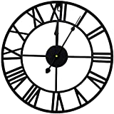 Outpicker Reloj de pared de 15,7 pulgadas, reloj europeo con números romanos, silencioso, de metal, funciona con pilas, para salón, cafetería, hotel, oficina, decoración del hogar (negro grande)