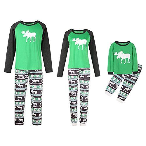 TLLW Pijamas de Navidad Familiar 2 Familiares a juego Navidad Camisetas de manga larga + pantalones Pijamas de Navidad a juego