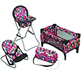 Mommy & Me 3 In 1 Baby Doll Accessories Mega Deluxe Playset with Doll High Chair, Doll Bouncer, and Doll Pack N Play Baby Doll Crib, Fits 18 Inch American Girl Doll, Gumball