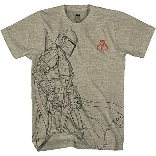 Star Wars Mandalorian The Bounty Hunter Line Art T-Shirt for Adult