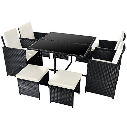 Merax Poly Rattan Lounge Gartenmöbel Set Sitzgruppe klappbare Essgruppe11/9 PCs (9 PCs, Schwarz)