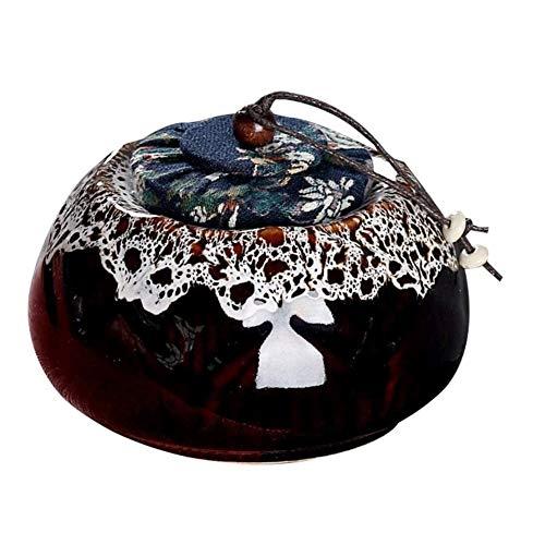 Storage Jar Tarros de Cristal con Tapa Recipientes de cerámica del té de té Caddies del café azúcar Botes (Color : Black/White)