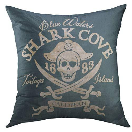 Funda de almohada decorativa para sofá, cama, decoración del hogar, bandera Jolly Roger piratas, obras de arte en colores personalizados, funda de almohada del tesoro de 45,7 x 45,7 cm