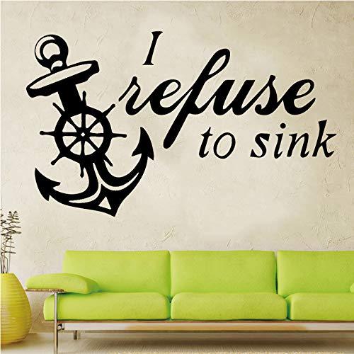 Bootsanker DIY Aufkleber Wasserdichte Tapete Wohnkultur für Wohnzimmer Schlafzimmer Wandaufkleber Wandbilder Gold L 43cm X 75cm