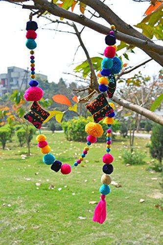 VLiving - Guirnalda de pompones para decoración del hogar, hecha a mano, multicolor (tamaño 1 metro)
