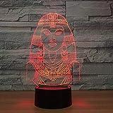 3D Ägyptische Prinzessin Lampe Illusion Optische Led Täuschung Nachtlicht Touch Licht 7 farben...