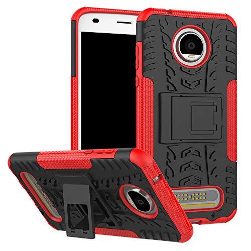 Capa para Moto Z2 Play, JYZR resistente, camada dupla 2 em 1, resistente, resistente a impactos, capa traseira rígida com suporte para Motorola Moto Z2 Play – Vermelho