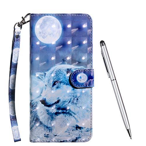 TOUCASA Hülle Kompatibel mit Huawei Nova 4, Handyhülle Brieftasche PU Leder Flip [3D] Hülle Magnetverschluss Handytasche Klapphülle Tasche Lederhülle Schutzhülle (Blauer Wolf)